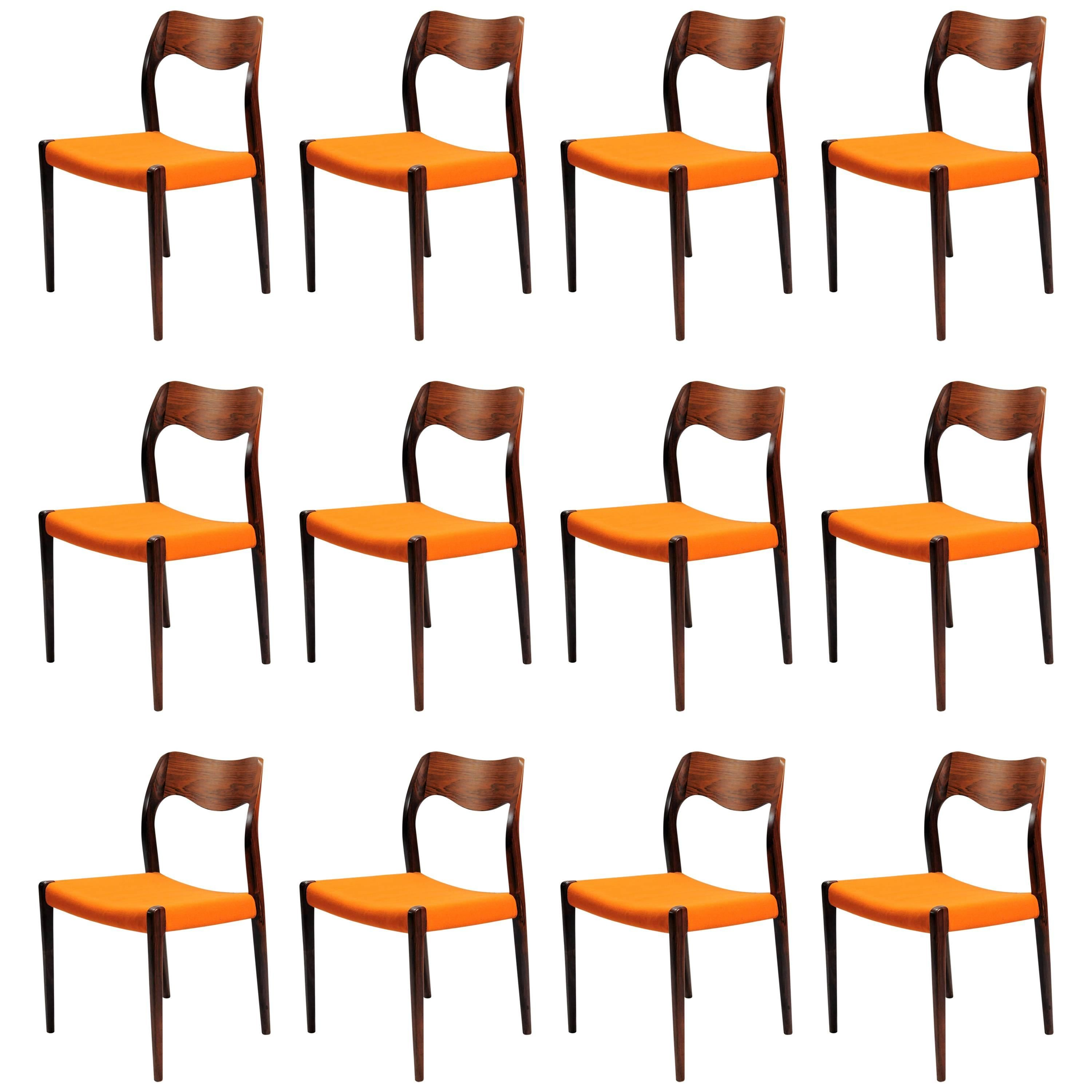 Niels Otto Moller Set of 12 Refinished Rosewood Dining Chairs Inc. Reupholstery