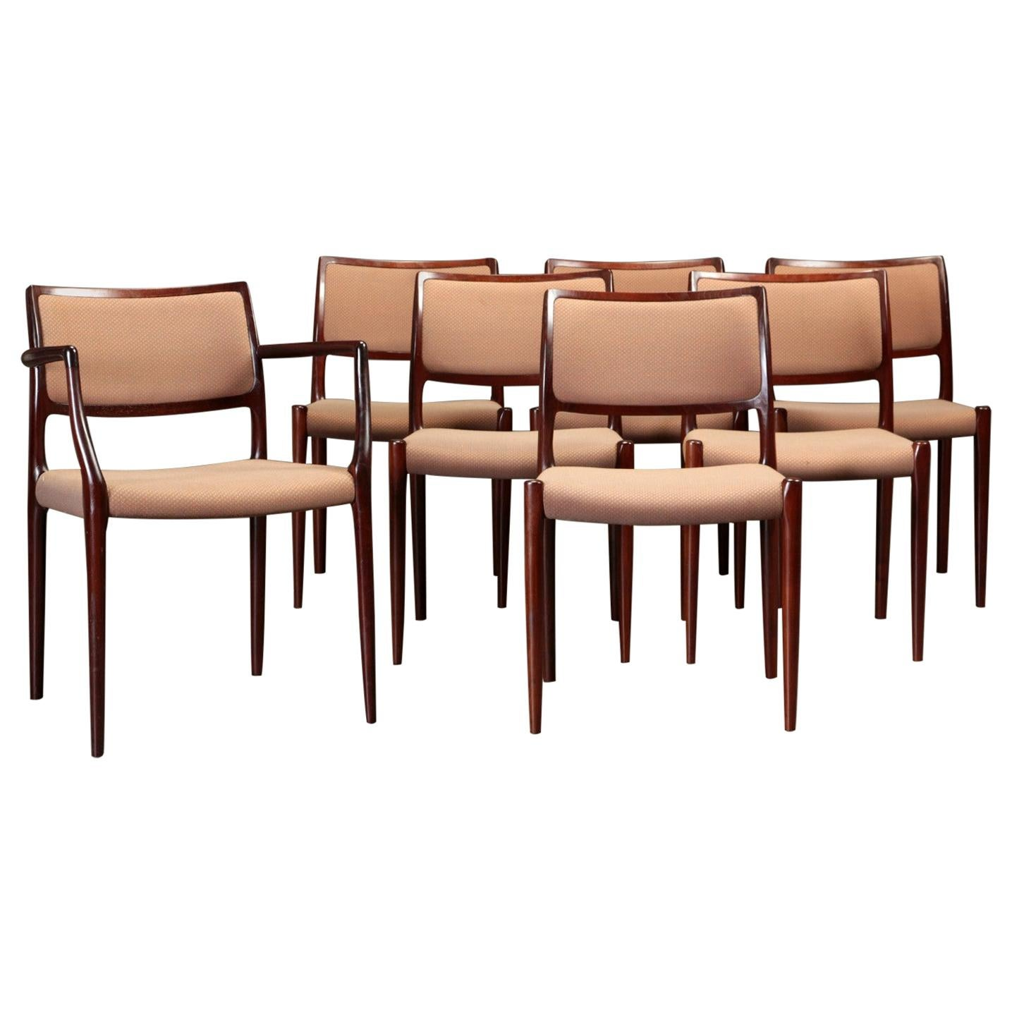 1960s Niels Otto Moller Set of Seven Dining Chairs in Mahogany Inc. Reupholstery