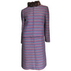 1960s Nina Ricci Dress and Fur Trimmed Jacket