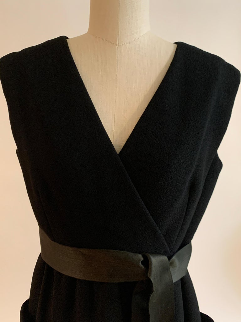 1960s Norman Norell Black Shift Dress with Patch Pockets and Ribbon Belt For Sale 1