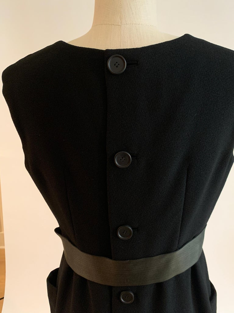 1960s Norman Norell Black Shift Dress with Patch Pockets and Ribbon Belt For Sale 3