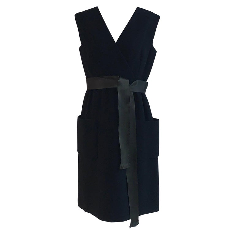 1960s Norman Norell Black Shift Dress with Patch Pockets and Ribbon Belt For Sale