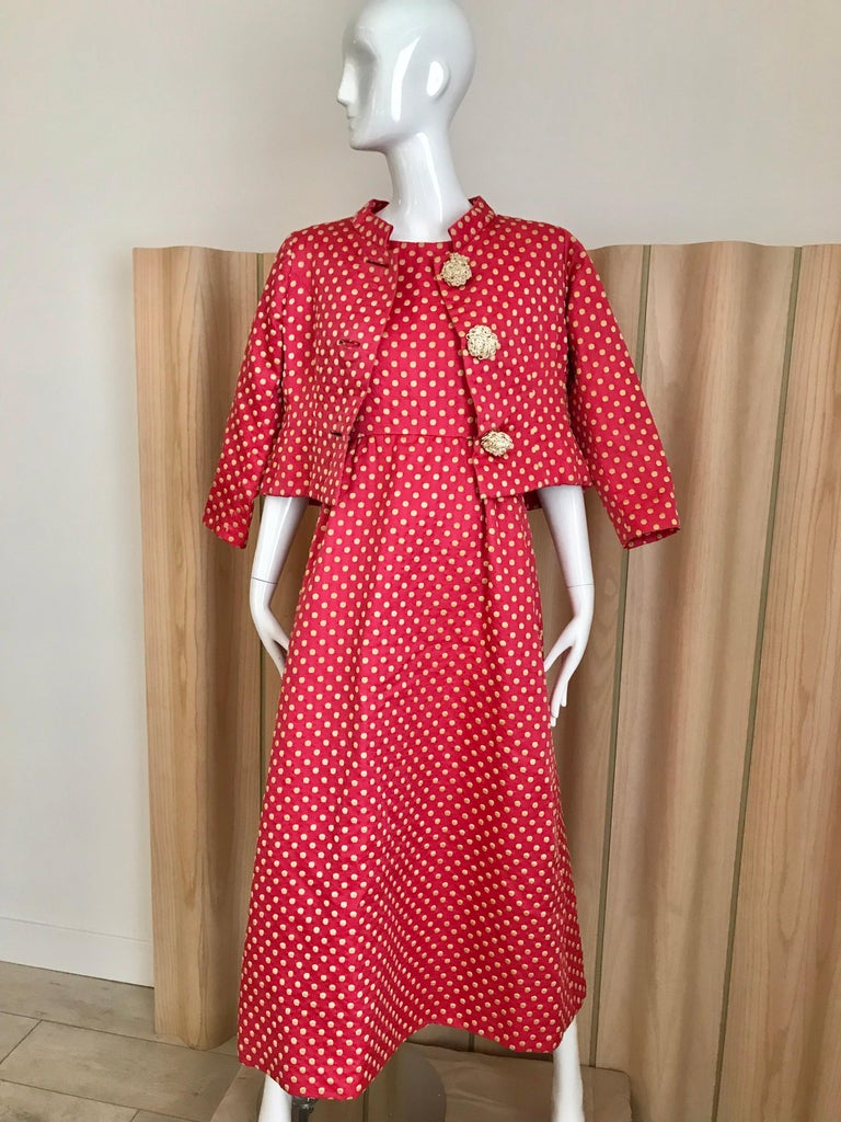 1960s Norman Norell Dark  Pink Silk Sleeveless Maxi  Dress  and Jacket  In Good Condition For Sale In Beverly Hills, CA