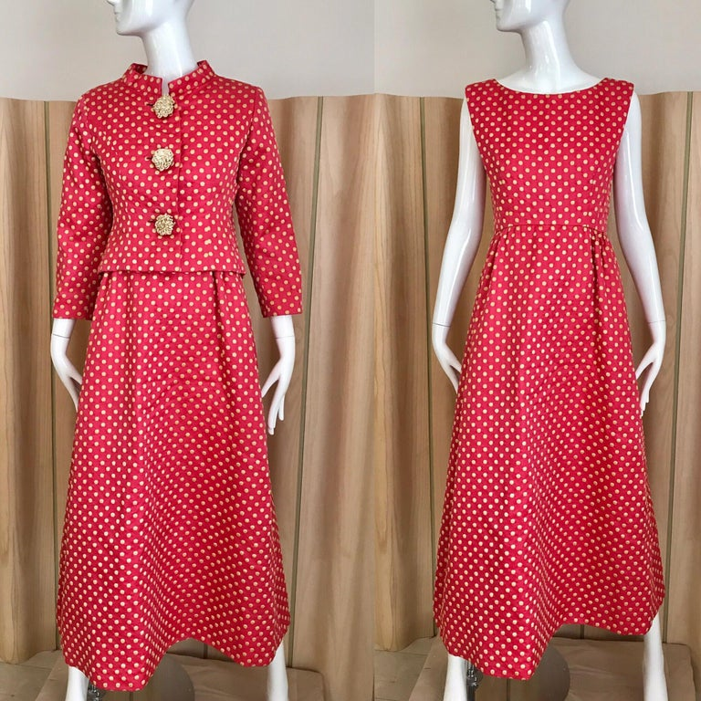 Women's 1960s Norman Norell Dark  Pink Silk Sleeveless Maxi  Dress  and Jacket  For Sale