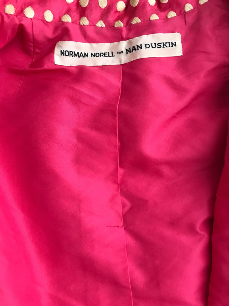 1960s Norman Norell Dark  Pink Silk Sleeveless Maxi  Dress  and Jacket  For Sale 1
