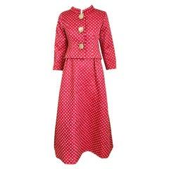 1960s Norman Norell Dark  Pink Silk Sleeveless Maxi  Dress  and Jacket