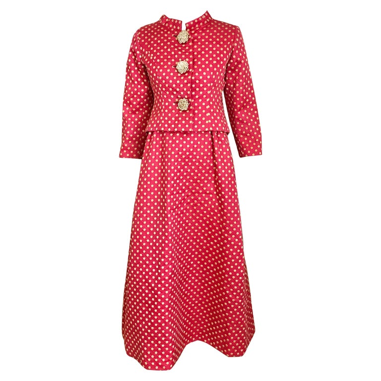 1960s Norman Norell Dark  Pink Silk Sleeveless Maxi  Dress  and Jacket  For Sale