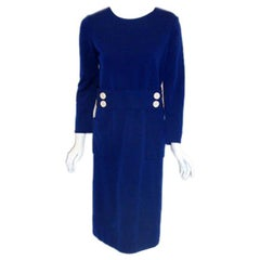 1960's Norman Norell Royal Blue Wool w. Self-Belt & Button Detail Day Dress