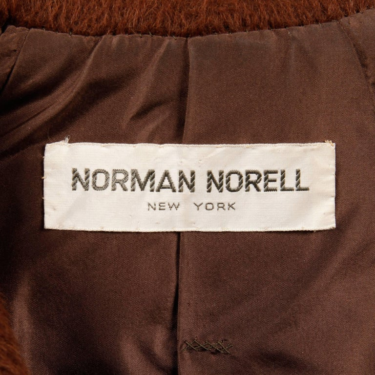 Brown 1960s Norman Norell Vintage Jacket For Sale
