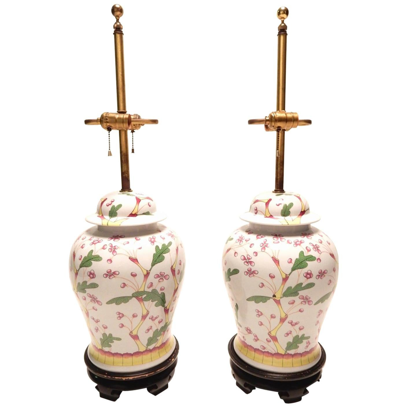 1960s Norman-Perry Asian Chinoiserie Ginger Jar Lamps