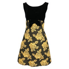 1960s Norman Sacks Black + Gold Velvet + Silk Brocade Vintage 60s A Line Dress
