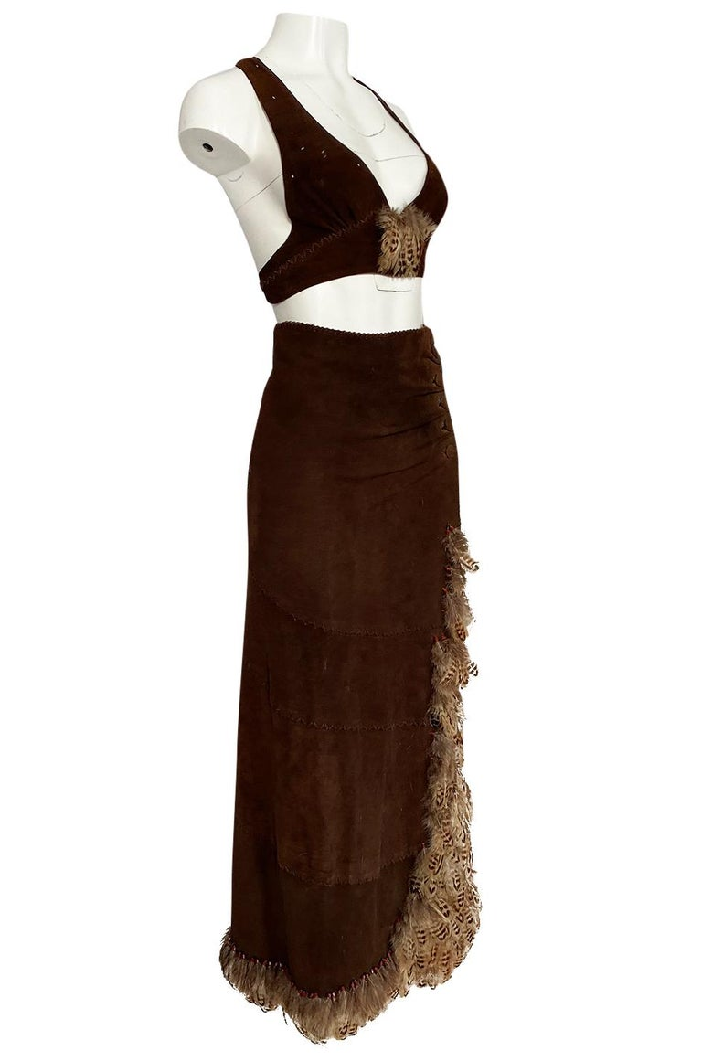 1960s North Beach Leather Suede & Feather Halter Top & Wrap Skirt Set In Excellent Condition For Sale In Rockwood, ON