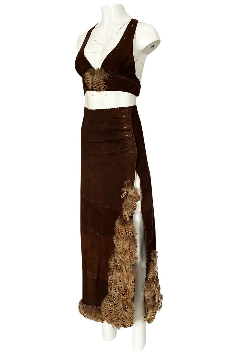 Women's 1960s North Beach Leather Suede & Feather Halter Top & Wrap Skirt Set For Sale