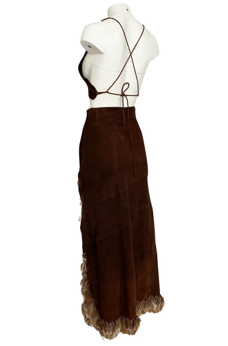 1960s North Beach Leather Suede & Feather Halter Top & Wrap Skirt Set For Sale 1