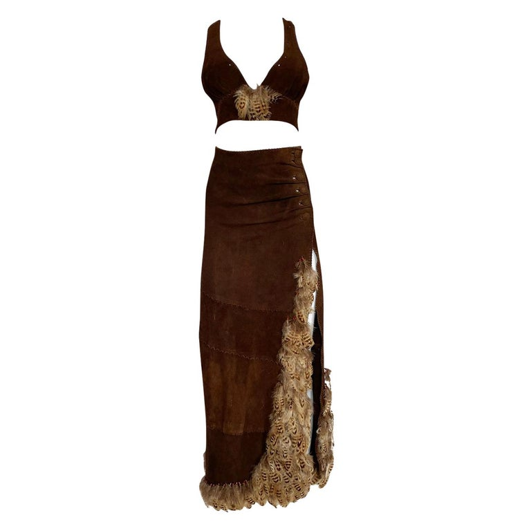 1960s North Beach Leather Suede & Feather Halter Top & Wrap Skirt Set For Sale