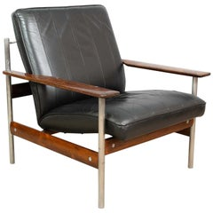 1960s Norwegian Leather Rosewood Lounge Chair Sven Ivar Dysthe for Dokka Mobler