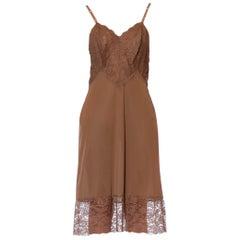 1960S Nude Brown Nylon & Lace Slip