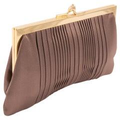 1960s Nut Silk Evening Clutch Bag