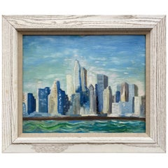 1960s NYC Skyline Painting, Oil on Board