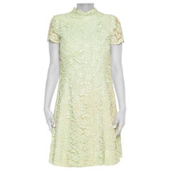 1960S Mint Green Cotton / Rayon Lace Ladylike Mod Dress
