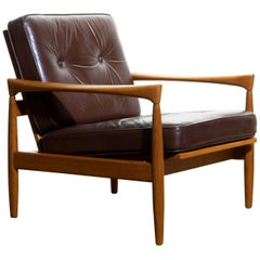 1960s, Oak and Brown Leather Lounge Chair by Erik Wörtz for Broderna Anderssons