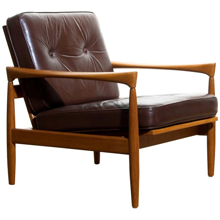 1960s Oak And Brown Leather Lounge Chair By Erik Wortz For Broderna Anderssons