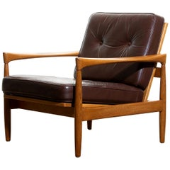 1960s, Oak and Brown Leather Lounge Chair by Erik Wörtz for Bröderna Anderssons