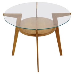 1960s Oak and Glass Coffee Table, Czechoslovakia