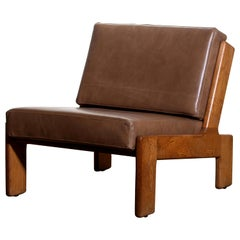 1960s, Oak and Leather Cubist Lounge Chair by Esko Pajamies for Asko Finland