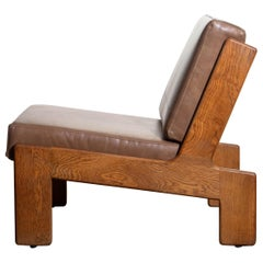 1960s, Oak and Leather Cubist Lounge Chair by Esko Pajamies for Asko, Finland
