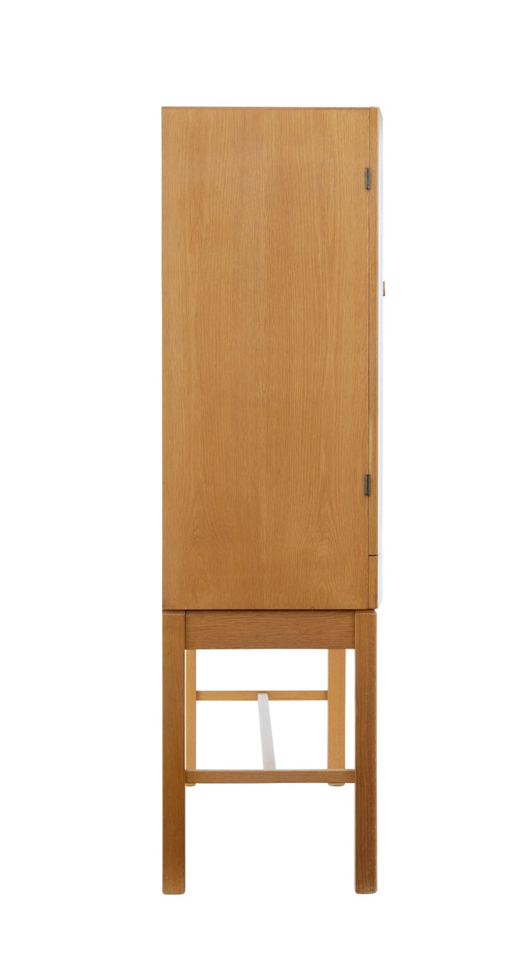 Swedish 1960's Oak Cabinet on Stand by Gunnar Mystrand for Kallemo For Sale
