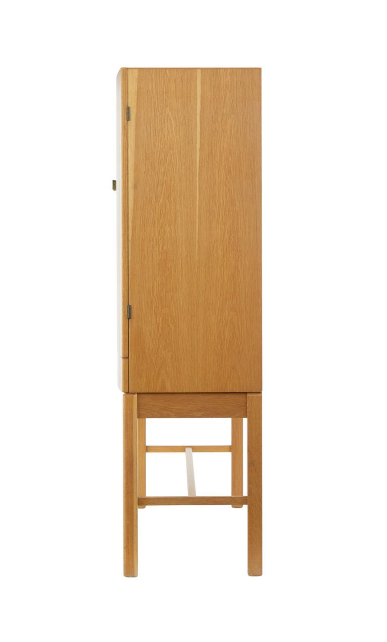 Woodwork 1960's Oak Cabinet on Stand by Gunnar Mystrand for Kallemo For Sale