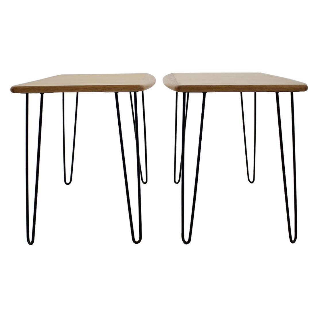 1960s Oak Coffee Table on Hairpin Legs