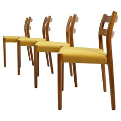 1960s Oak Dining Chairs by N.O. Møller, Set of 4