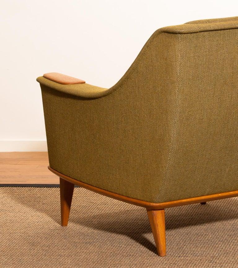 1960s, Oak Green Upholstered Lounge Chair by Folke Ohlsson for DUX, Sweden 3