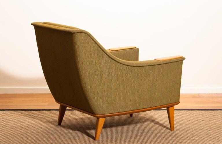 1960s, Oak Green Upholstered Lounge Chair by Folke Ohlsson for DUX, Sweden 4