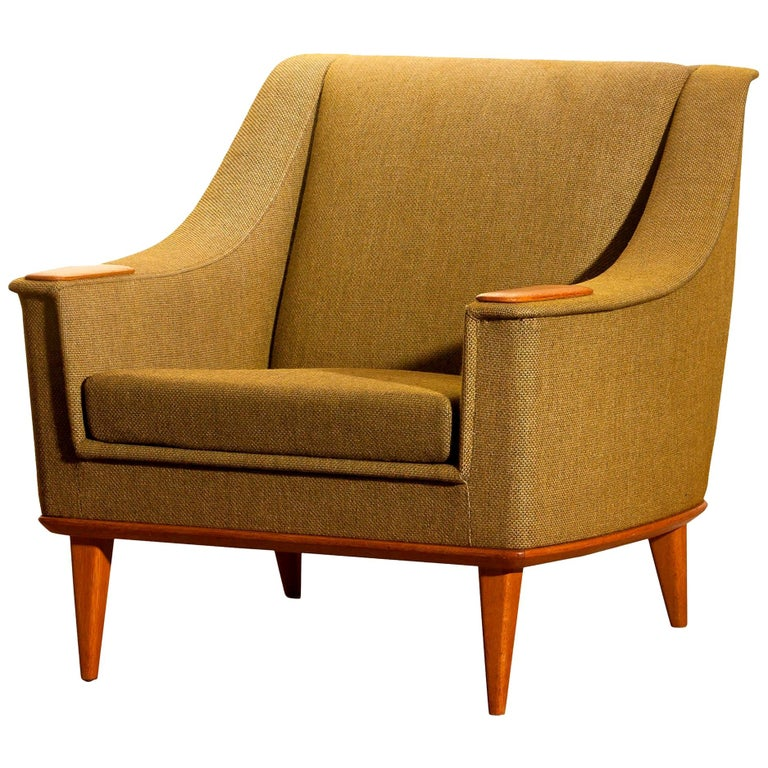 Mid-Century Modern 1960s, Oak Green Upholstered Lounge Chair by Folke Ohlsson for DUX, Sweden