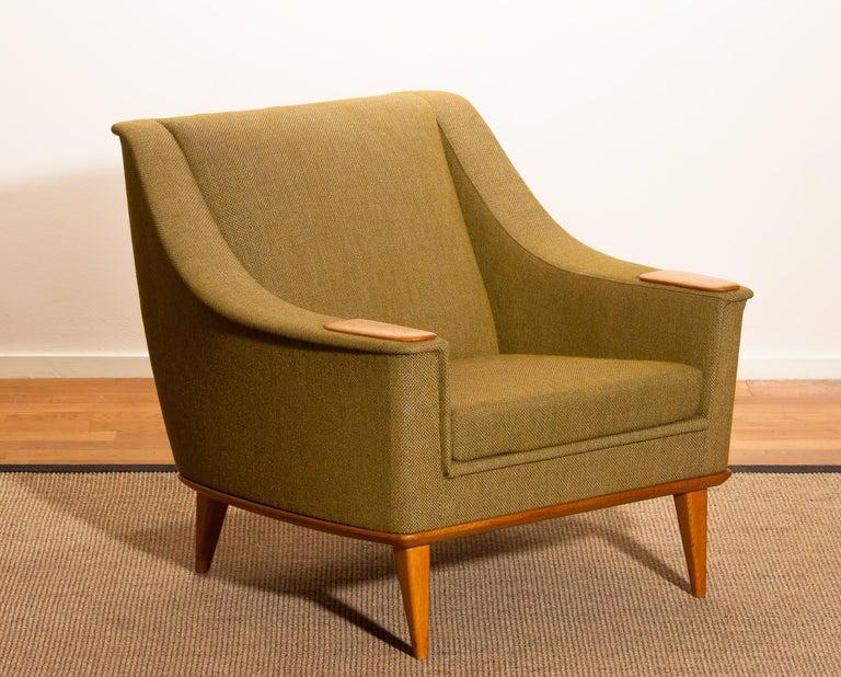1960s, Oak Green Upholstered Lounge Chair by Folke Ohlsson for DUX, Sweden In Good Condition In Silvolde, Gelderland