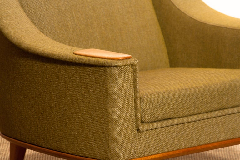 Fabric 1960s, Oak Green Upholstered Lounge Chair by Folke Ohlsson for DUX, Sweden
