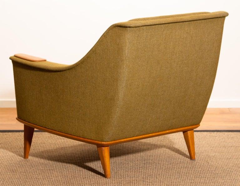 1960s, Oak Green Upholstered Lounge Chair by Folke Ohlsson for DUX, Sweden 1