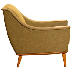 1960s, Oak Green Upholstered Lounge Chair by Folke Ohlsson for DUX, Sweden