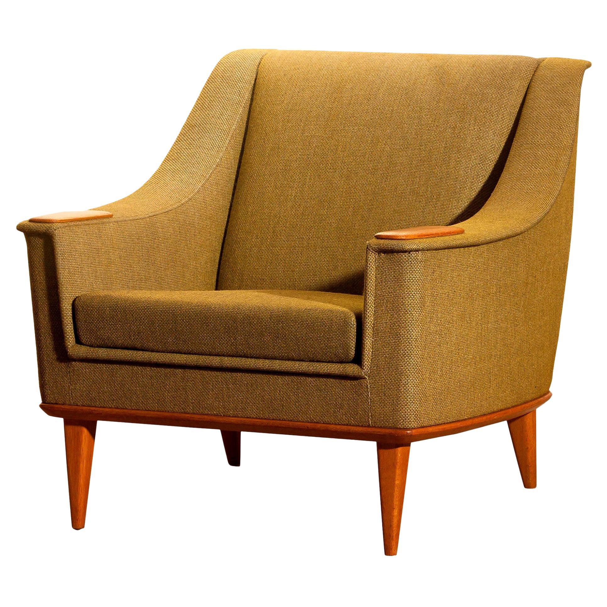 1960s, Oak Green Upholstered Lounge Chair by Folke Ohlsson for DUX, Sweden