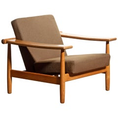 1960s Oak Lounge Chair Living Room Set from Denmark in GETAMA Style