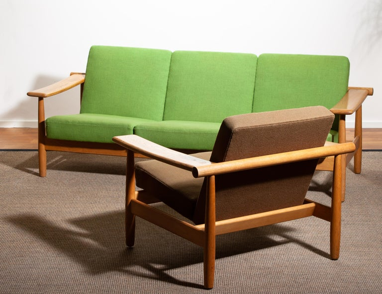 1960s Oak Lounge Chair Livingroom Set from Denmark in GETAMA Style For Sale 6