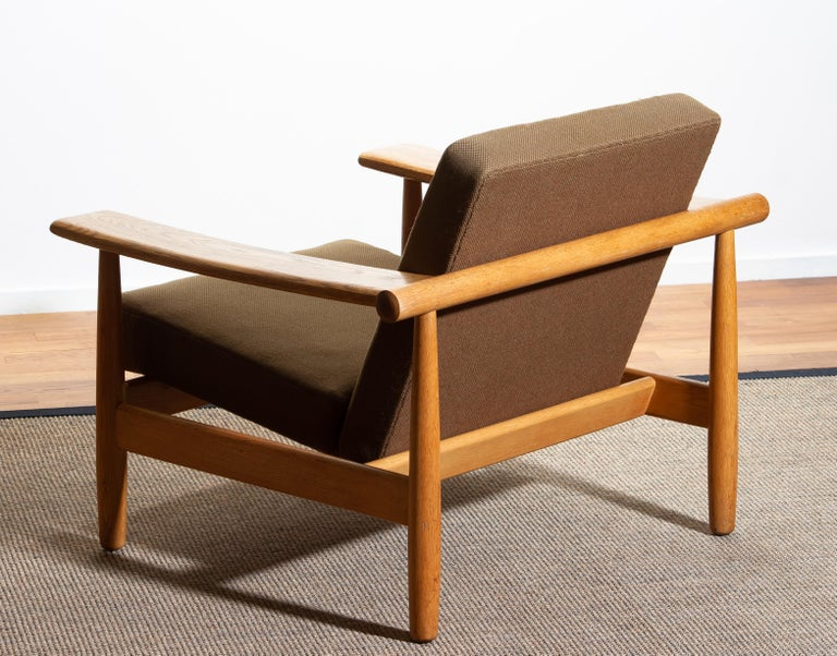 Fabric 1960s Oak Lounge Chair Livingroom Set from Denmark in GETAMA Style For Sale