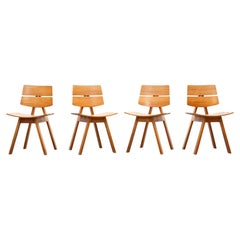 1960s Oak Set of Four Chairs by Willy Guhl