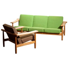 1960s, Oak Sofa and Lounge Chair/Living Room Set from Denmark in GETAMA Style