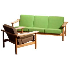1960s, Oak Sofa and Lounge Chair / Livingroom Set from Denmark in GETAMA Style