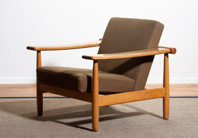 Fabric 1960s, Oak Sofa and Lounge Chair or Living Room Set from Denmark