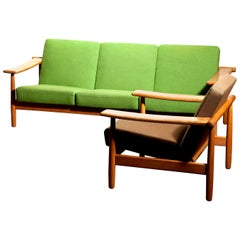 1960s, Oak Sofa and Lounge Chair or Living Room Set from Denmark